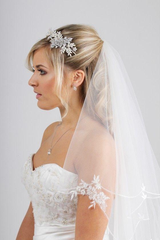 Lace applique wedding veil C249B by Richard Designs