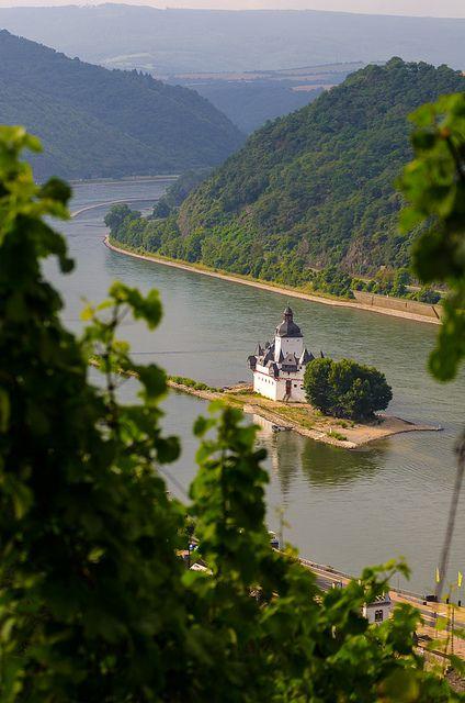 Pfalzgrafenstein Castle on Falkenau Island, Germany (by HMoysich). Along the Rhine river.