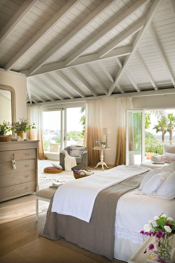 beautiful, neutral bedroom, vaulted ceiling