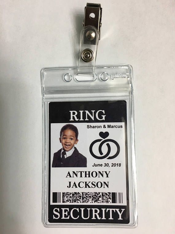 RING SECURITY Badge with Clip for Wedding Bride Security