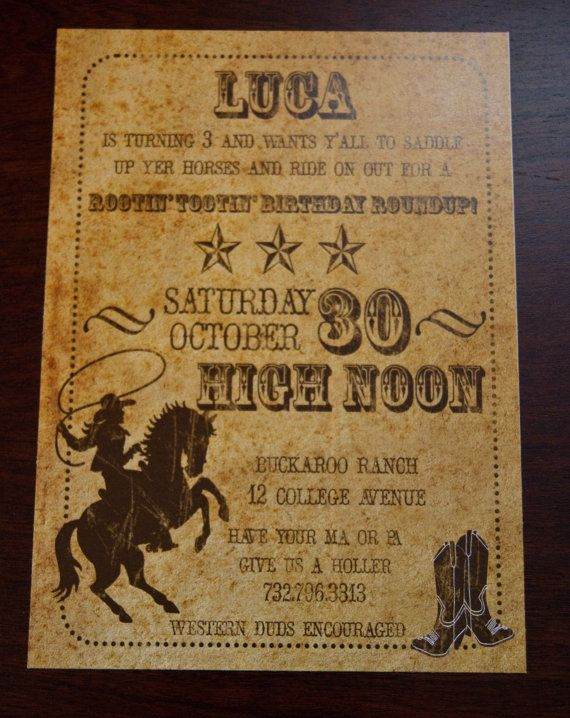 Vintage Inspired Cowboy Party Invitation Old West by Bellezaeluce, $20.00