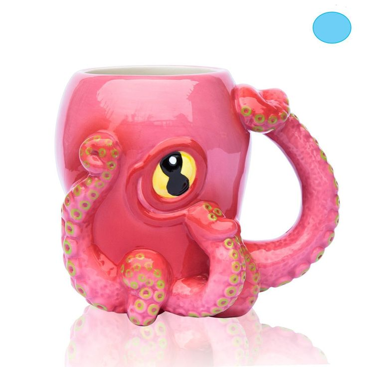Ceramic Pink Octopus Coffee Mug w/ Tentacle Handle - Octopus Design w/ 8 Squirmy 3D Tentacles & Big Eye