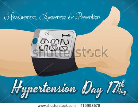 Thumb up for good measurement of blood pressure in digital sphygmomanometer in Hypertension Day commemorative design.