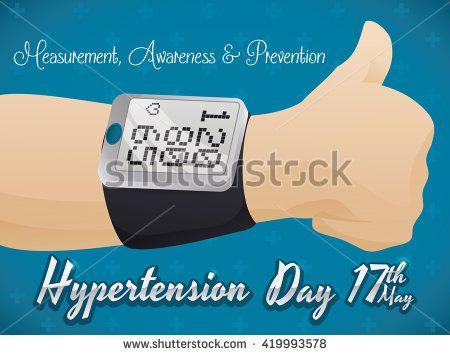 Thumb up for good measurement of blood pressure in digital sphygmomanometer in Hypertension Day commemorative design.