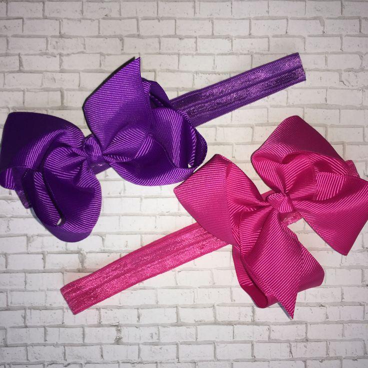 Boutique Bow Headbands, Purple Headband, Pink Headband, Hair Bow, Toddler Headband, Elastic Headband, Girls, Baby, Comfortable Headband, Bow by PlayAllDayDesigns on Etsy