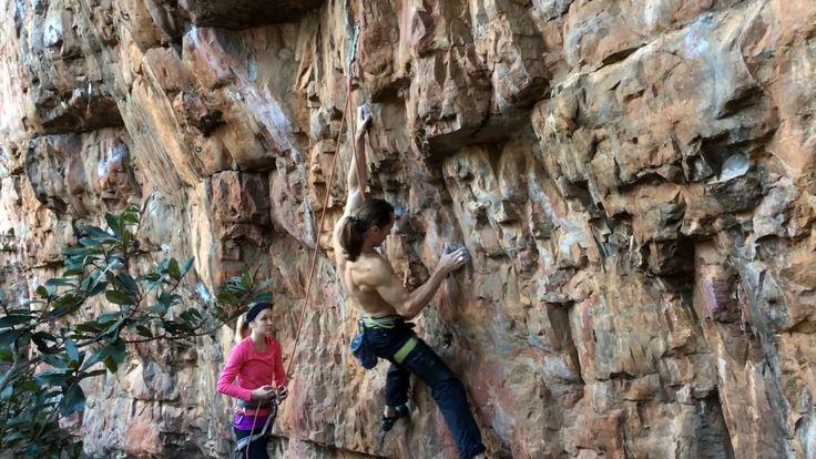 David Wade grabbing the seccond ascent of Frackit (31) - at #Chosspile #Rockclimbing