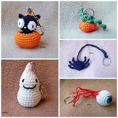 Horgolt kulcstartók: horgolt tököcske, horgolt pók, horgolt szemgolyó, horgolt szellem, horgolt tököcskében cica  Mirtusz : Cicajátékok - Halloween