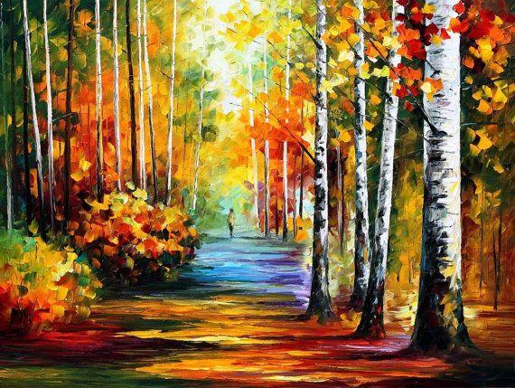 Calzada del bosque  Abedules otoño paisaje por AfremovArtStudio