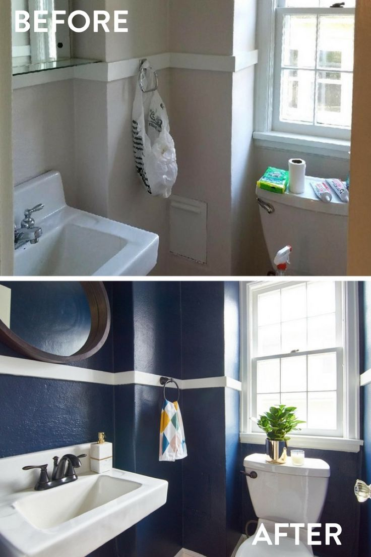 Dark, dramatic bathroom makeover using Sherwin-Williams Naval paint - a small space can be a great candidate for a bold color that might be overkill for a larger room. Try it out!  @sherwinwilliams #Sponsored