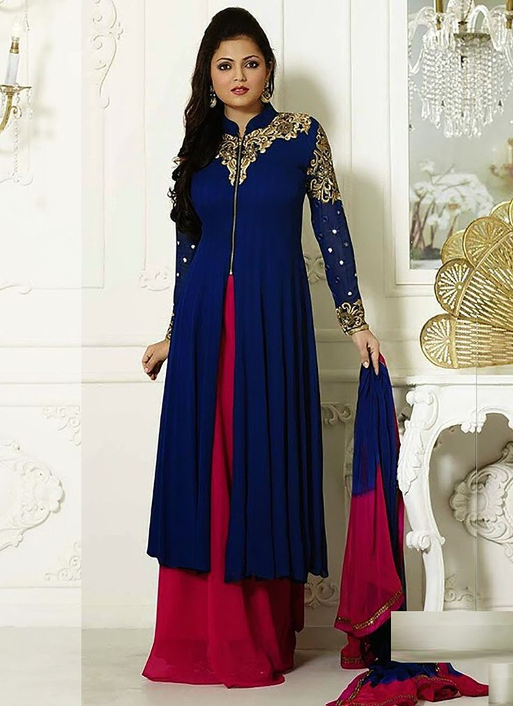 Elegang Blue Color Georgette Plazzo Anarkali Suit with Chiffon Dupatta Bu Now :  http://buff.ly/1luE7HR Rs. 2,949.00/- Only #FreeShipping in India