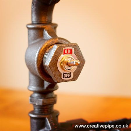 www.creativepipe.co.uk - innovative iron pipe lamps and pipe furniture. LMP059 Skinny Shelf