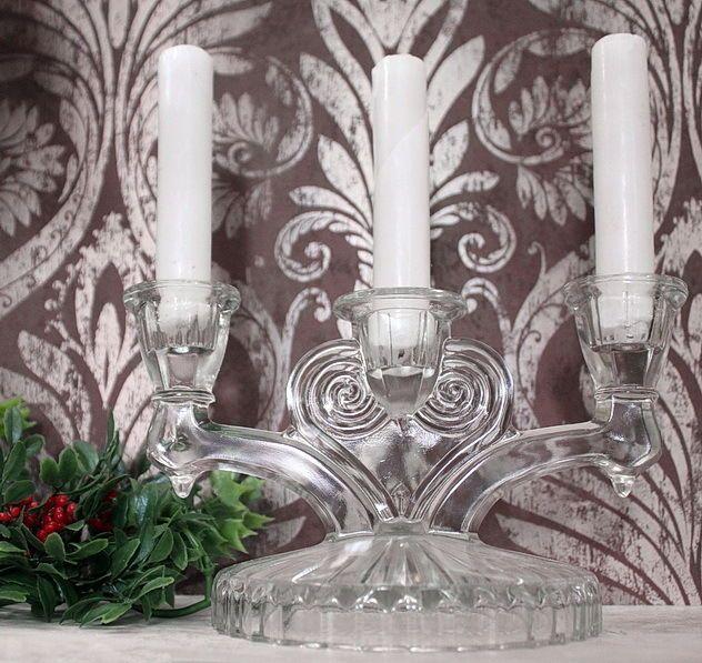 SOLD! #Vintage #Antique #Crystal #Glass #Triple #Candelabra #Taper #Candle #Holder #Ebay