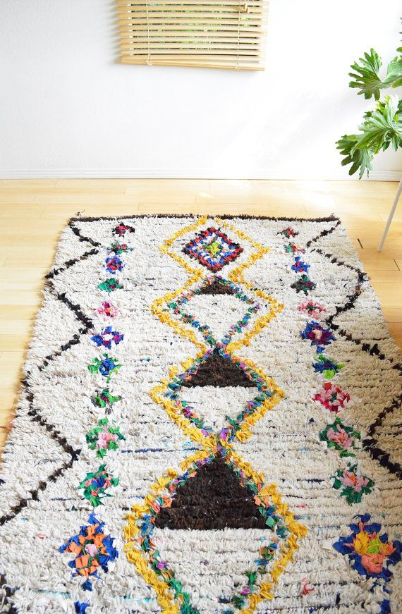 Tapis marocain / tapis Boucherouite Vintage marocain tapis laine + coton                                                                                                                                                                                 Plus