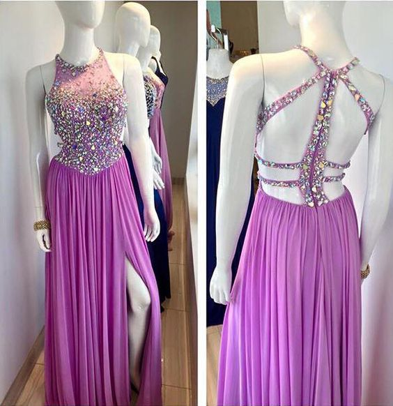UPb0012 High neck, backless, with beads, split, prom dresses