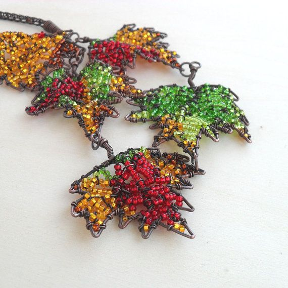 Copper Statement Necklace Autumn Leaves Leaf Nature Fall Colors Wire Wrapped Seed Bead Jewelry Handmade Viking Knit