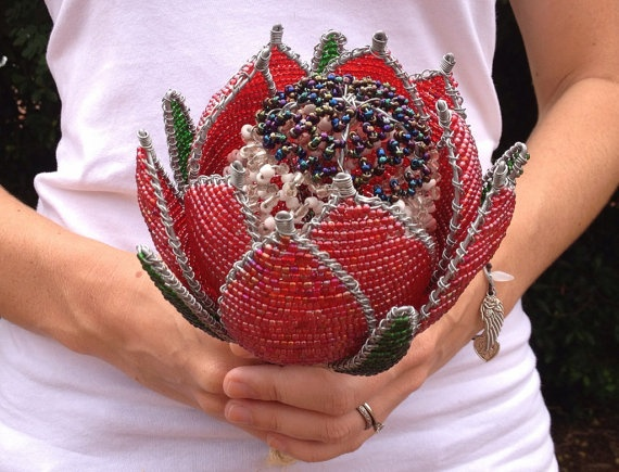 Beaded Protea Bouquet by KinksBridal on Etsy, $50.00