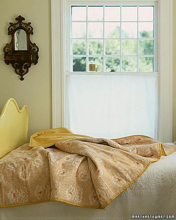 Quick Quilt How-to. A simple technique lets your turn any expanse of pretty fabric into a welcoming coverlet.: Blanket, Marthastewart, Fall Sewing Projects, Window, Diy Crafts, Pretty Fabrics, Easy Quilts, Quick Quilts, Vintage Tablecloths