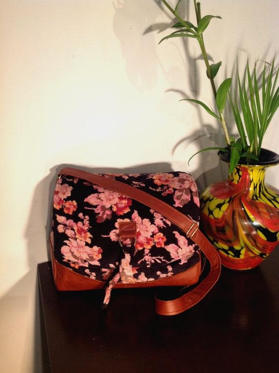 Florence Satchel bag - Floral and Tan. $64.50, via Etsy.