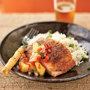 Pan-Seared Salmon with Pineapple-Jalapeno Relish - salmon, pineapple, red bell pepper, red onion, jalapeno