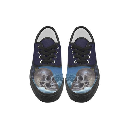 Skull and Moon Aries Women's Canvas Shoes (Model 029)