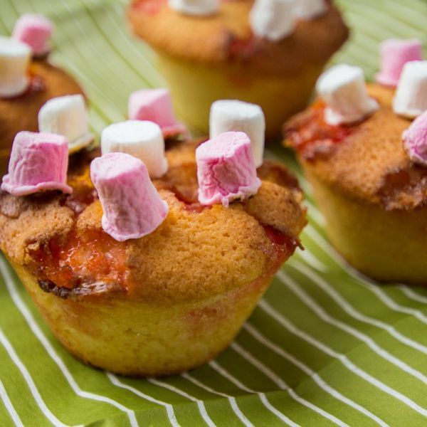 Kladdiga marshmallows muffins