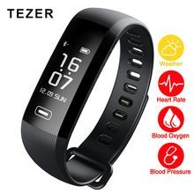 TEZER R5MAX Smart Wrist Band Fitness Bracelet Blood Pressure Heart Rate Monitor Blood Oxygen   TEZER R5MAX Smart Bracelet Features Weather forecast 50 words push message Heart rate Blood oxygen Blood pressure measurement Fatigue measurement Sports step counter Energy consumption Daily mileage Sleep monitorin Call ID SMS Reminder APP Reminder Sedentary reminded Alarm clock reminder ...