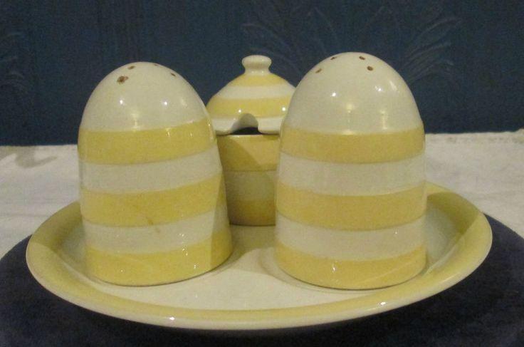 Vintage T G Green Cornish Ware Rare Yellow 4 Piece Cruet