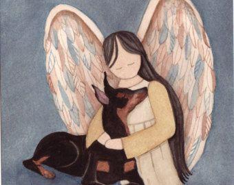 Estándar raza poodle blanco con angel / Lynch por watercolorqueen