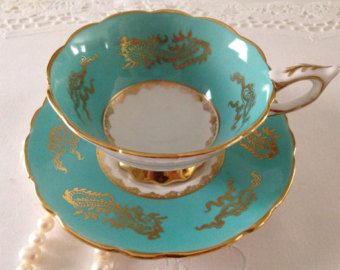 Aqua Royal Stafford China Tea Cup & Saucer