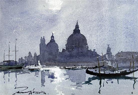 <b>Edward Wesson (1910-1983)</b></i> <br /> watercolour <br /> 'Venice Nocturne' <br /> signed <br /> <i>6.75 x 9in.</b></i>