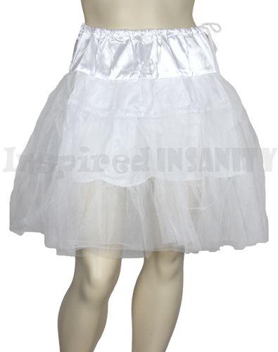"Vintage Rockabilly Bridal White Tutu Swing Skirt 25"" Petticoat"