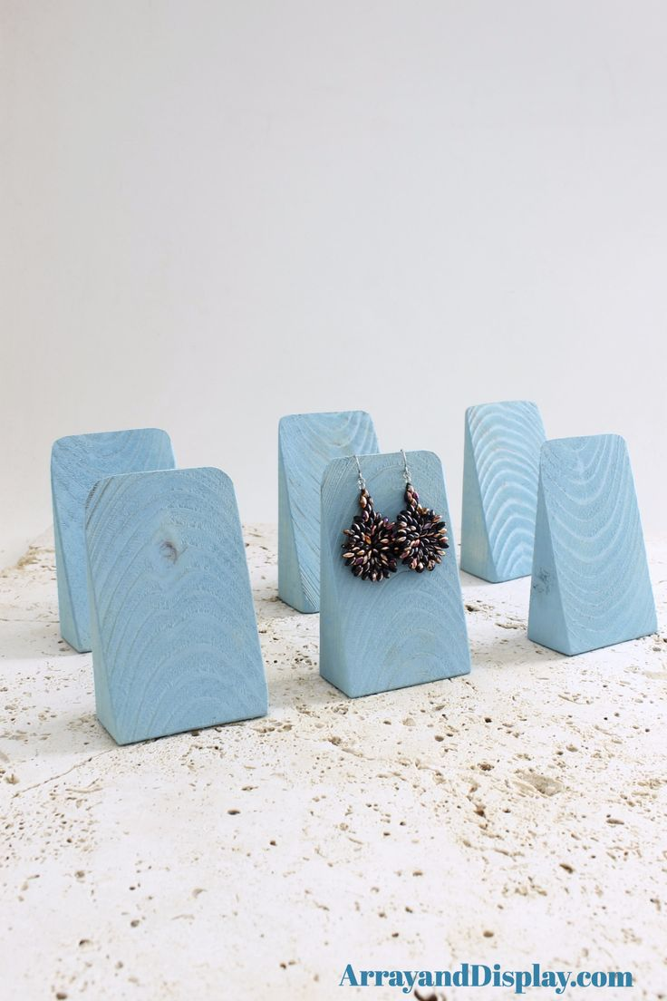Jewelry display earring wedges made of solid wood with vintage aqua stain.  Handcrafted by ArrayandDisplay.com. Made in the USA.