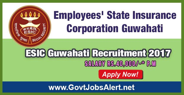 ESIC Guwahati Recruitment 2017 – Hiring Part Time Specialists Posts, Salary Rs.40,000/- : Apply Now !!!  The Employees State Insurance Corporation Guwahati - ESIC Guwahati Recruitment 2017 has released an official employment notification inviting interested and eligible candidates to apply for the positions of Part Time Specialists in Medicine, Obs & Gynae, Pediatrics, Surgery, Eye, ENT, Ortho, Dental, Ayurvedic and Pathology.