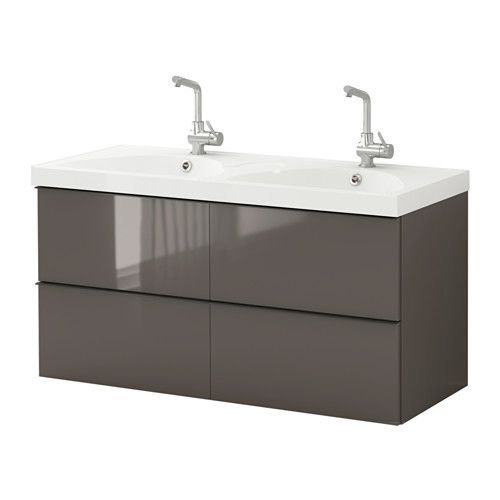 GODMORGON / EDEBOVIKEN Kast voor wastafel met 4 lades - hoogglans grijs - IKEA