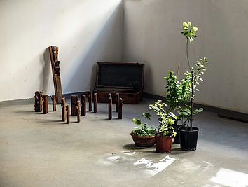 "Installation ""Material Matters _space I"", Athens School of Fine Arts, 2015. Readymades (handmade wooden carpenter tools and wooden suitcase, native trees and plants of Greece in plastic pots)  Artist: Georgia Nikolakopoulou"