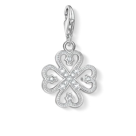 THOMAS SABO Charm pendant from the Charm Club Collection Charm pendant cloverleaf with lobster clasp - 925 Sterling silver - white zirconia-pavé Size: approx. 1,7 cm Playful hearts and decorative ornamentation adorned with white zirconia-pavé blend to form this unique clover leaf charm made of 925 Sterling silver.