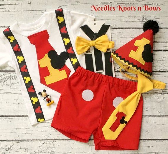 Boys Mickey Mouse 1st Birthday Outfit Cake Smash Deluxe Set Boys Mickey Mouse 1st Birthday Boys Birthday Outfits Cake Smash Outfit Boy Cake Smash Outfit