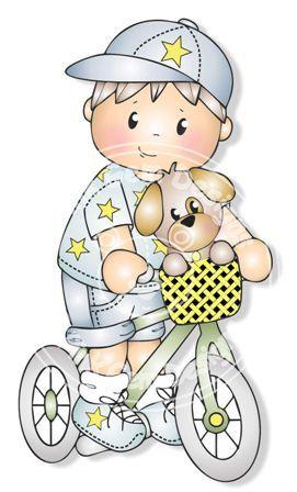 Digital Digi Josh on Bike Stamp Little Boy por PinkGemDesigns