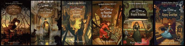 """Enola Holmes Series by Nancy Springer - Great little series about Sherlock's little sis also a detective. FYI - References but not in detail the """"ladies of the night"""" in London so not quite suitable for little ones."""