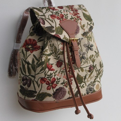 Blumen-Rucksack-Gobelin-Damen-Tasche-Sunflower-Libelle-Schmetterling-Kaefer