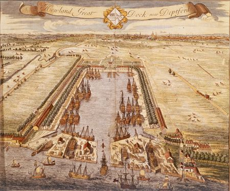 Bird's eye view of Howland Great Dock, Deptford, Rotherhithe, Bermondsey, c.1717. Surrounding the dock are fields with cattle grazing and horse-drawn carriages passing by on the roads. The Dock was opened in 1700 as a facility for merchant ships. It was renamed 'Greenland Dock' when it was sold in 1763 to the South Sea Company for lease to whaling ships until 1809.