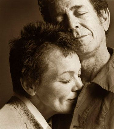 "Laurie Anderson thinks Lou Reed smells right.                [PS, This photo is by the fabulous Guido Harari, who says: ""Two of my favorite artists of all time and longtime friends too. I wanted to shoot them together with the most intimate and direct approach. This photo was taken during their only tour together in 2002. It was shot in a corridor backstage, after the concert, at 1.30am, when I had lost any hope this would ever happen.""]"