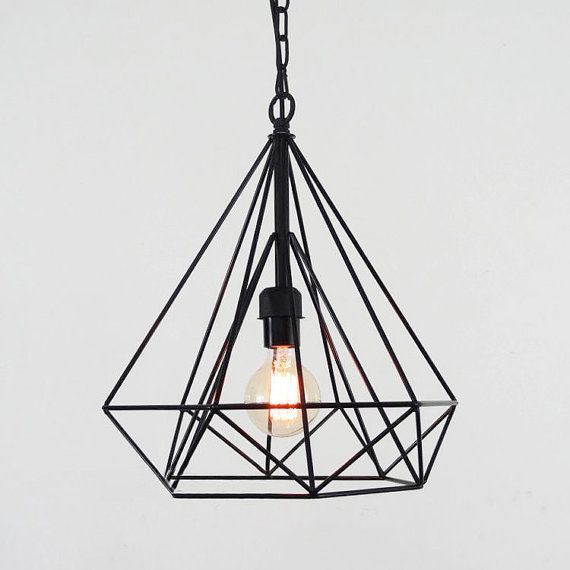Diamond wire cage pendant light / Geometric minimalist / warehouse industrial / loft