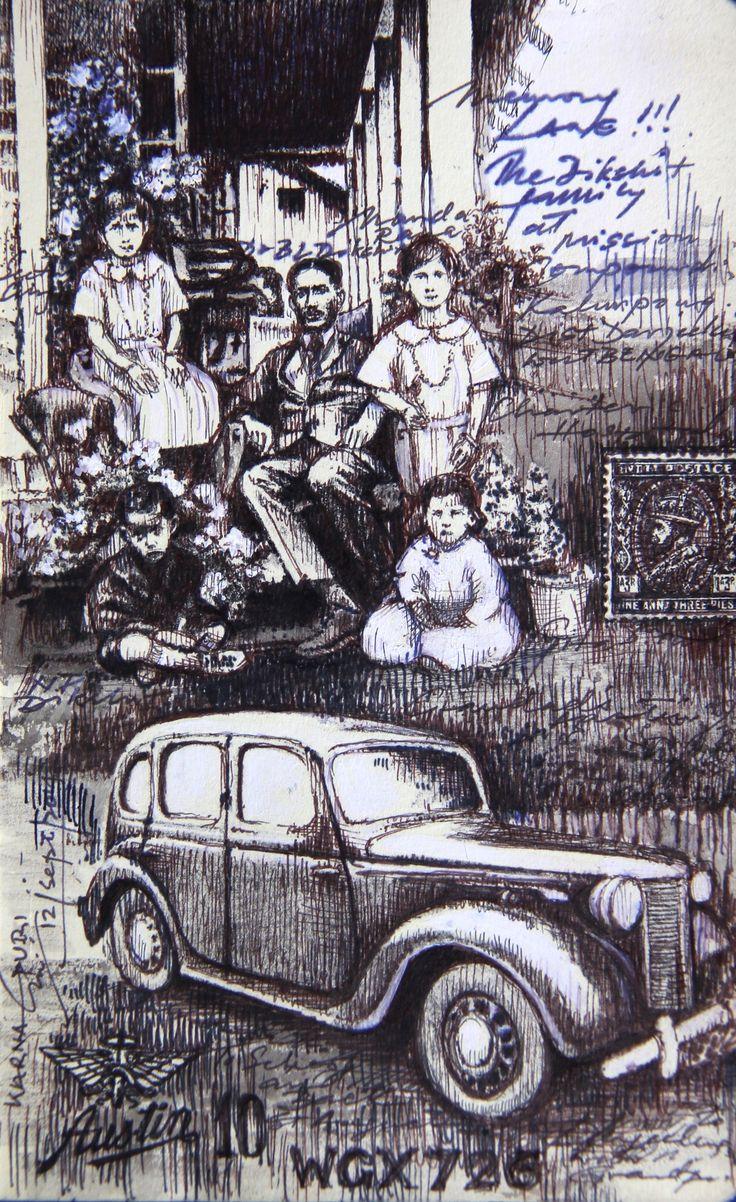 MEMORY LANE - My Grandfather, Dr B L Dikshit & His Children - Mixed Media on Paper
