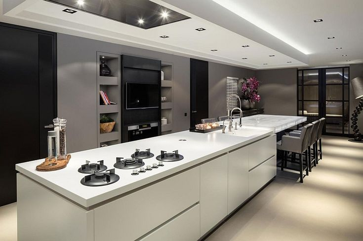 Luxurious Chic Villa Design with Unbelievable Interior Design: Conetmporary Kitchen Island In White Equipped With Whitete Cieling Unit And Modern Range Hood Design Ideas ~ CLAFFISICA Villa Inspiration