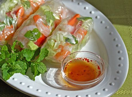 Fresh  and light Vietnamese salad rolls with a nuoc cham dipping sauce.