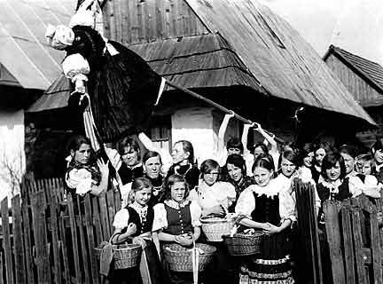 "MORENA IN ORAVA. Slovakian spring custom of ""taking out Morena,"" who symbolizes death, sickness and winter."
