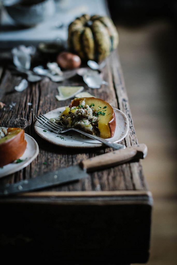 Bacon + gruyere + apple + whole grain bread stuffed pumpkin | Recipe ...