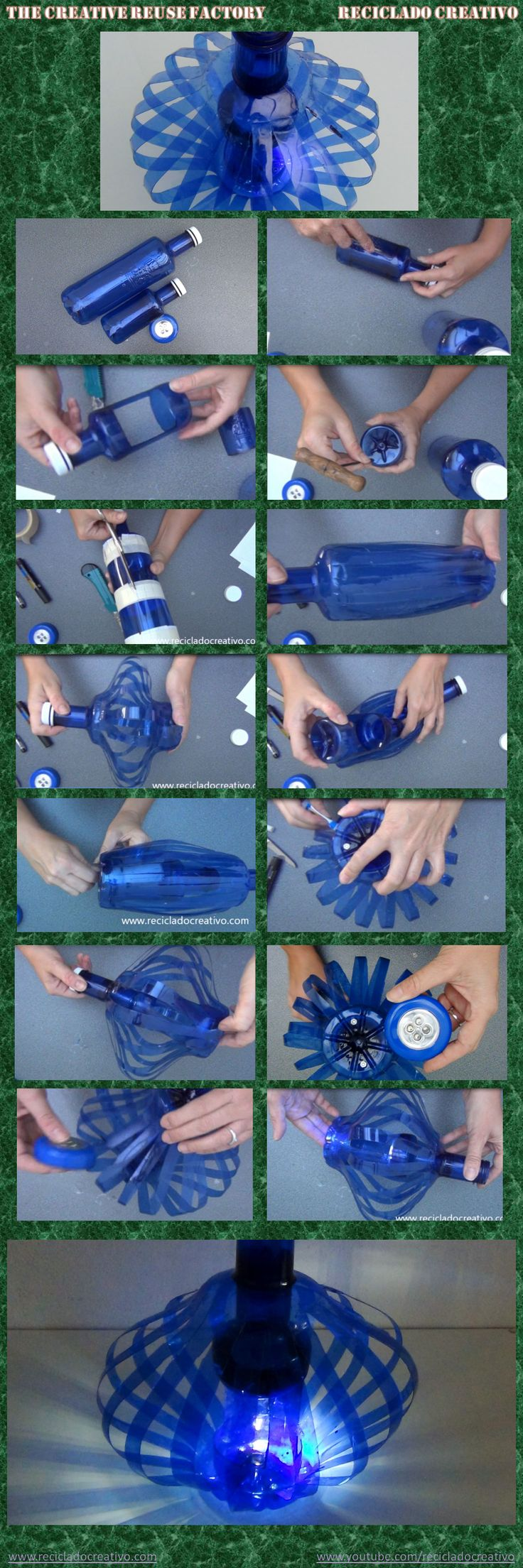 How to make a lamp with two plastic bottles #recycled #upcycled #reuse