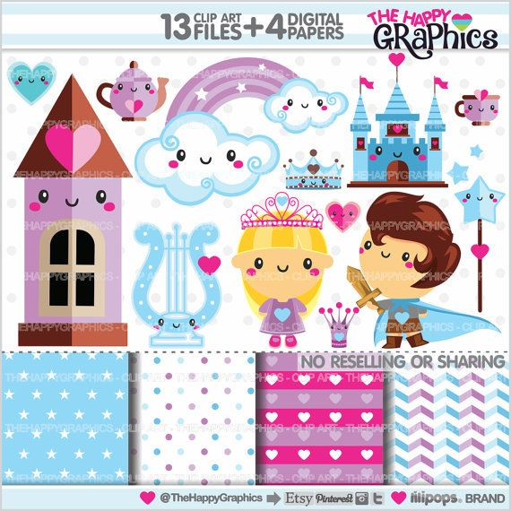Magic Clipart, Princess Graphics, Kingdom, Magic Party, COMMERCIAL USE, Kawaii Clipart, Fairytale, Planner Accessories, Princess Party